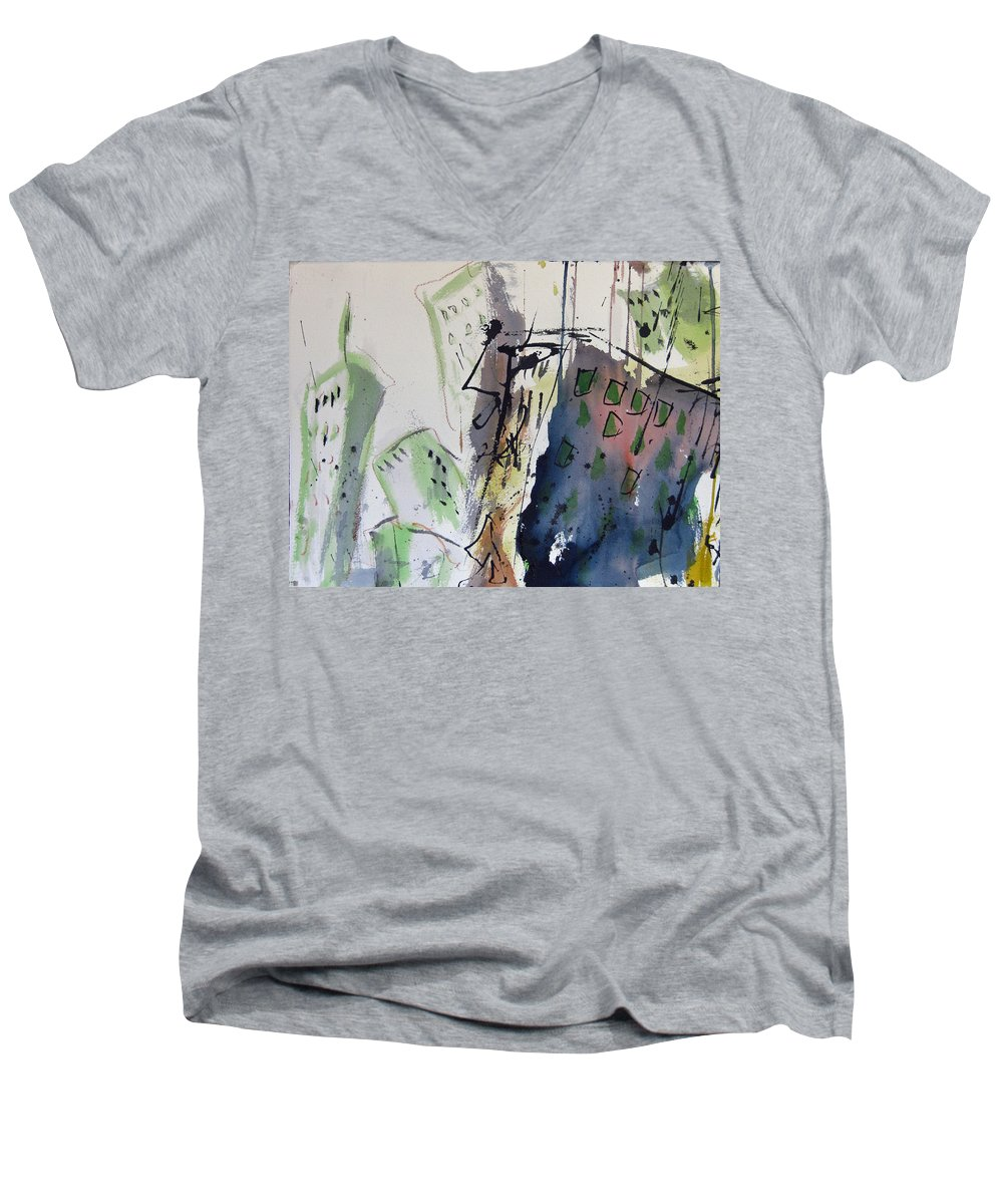City Men's V-Neck T-Shirt featuring the painting Uptown by Robert Joyner
