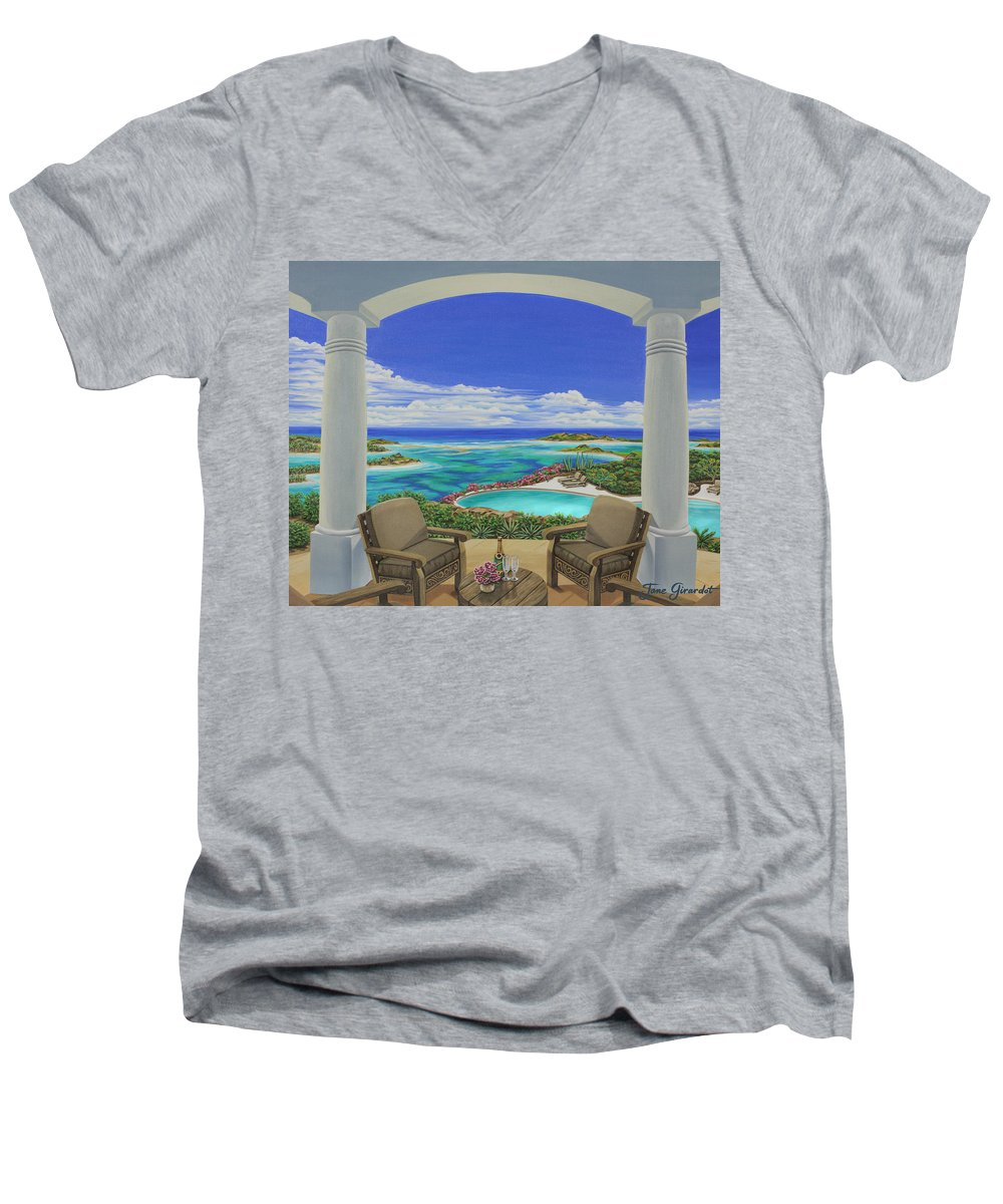 Ocean Men's V-Neck T-Shirt featuring the painting Vacation View by Jane Girardot