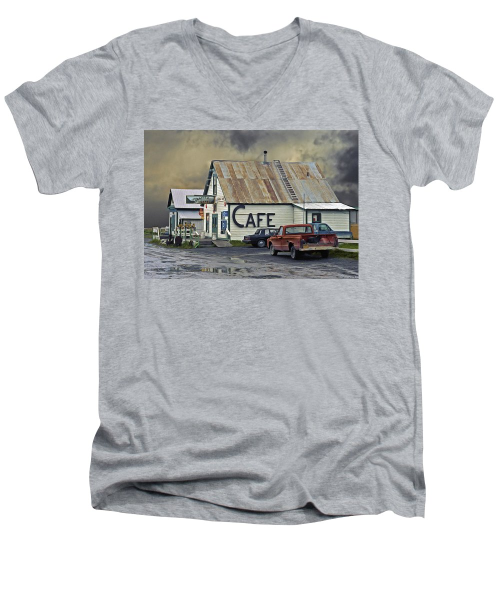 Alaska Men's V-Neck T-Shirt featuring the photograph Vintage Alaska Cafe by Ron Day