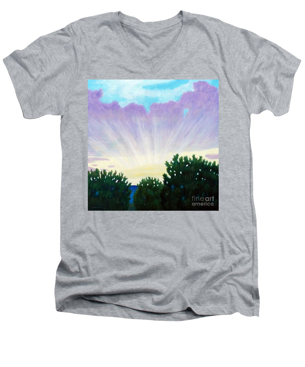 Skyscape Men's V-Neck T-Shirt featuring the painting Visionary Sky by Brian Commerford