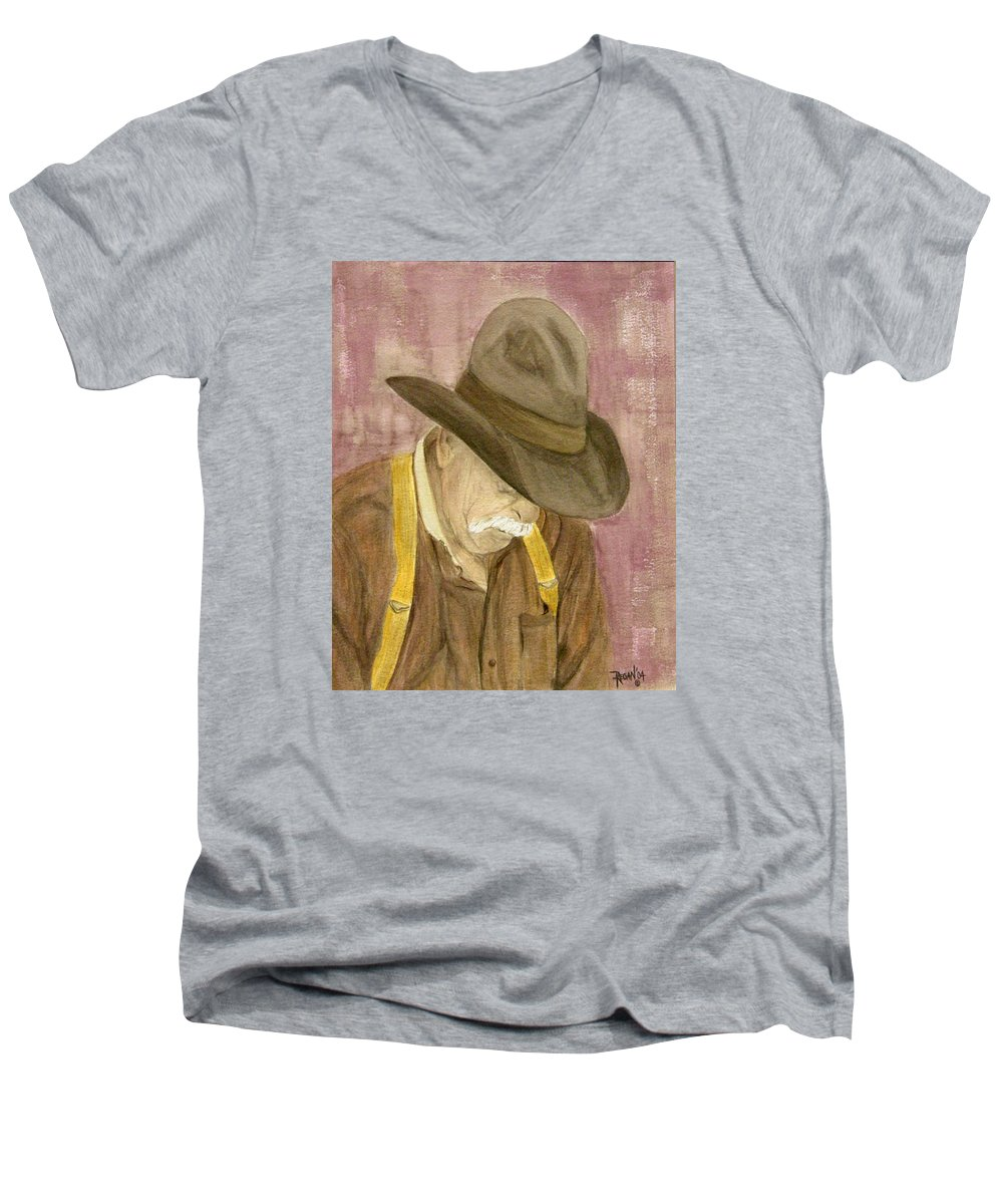 Western Men's V-Neck T-Shirt featuring the painting Walter by Regan J Smith