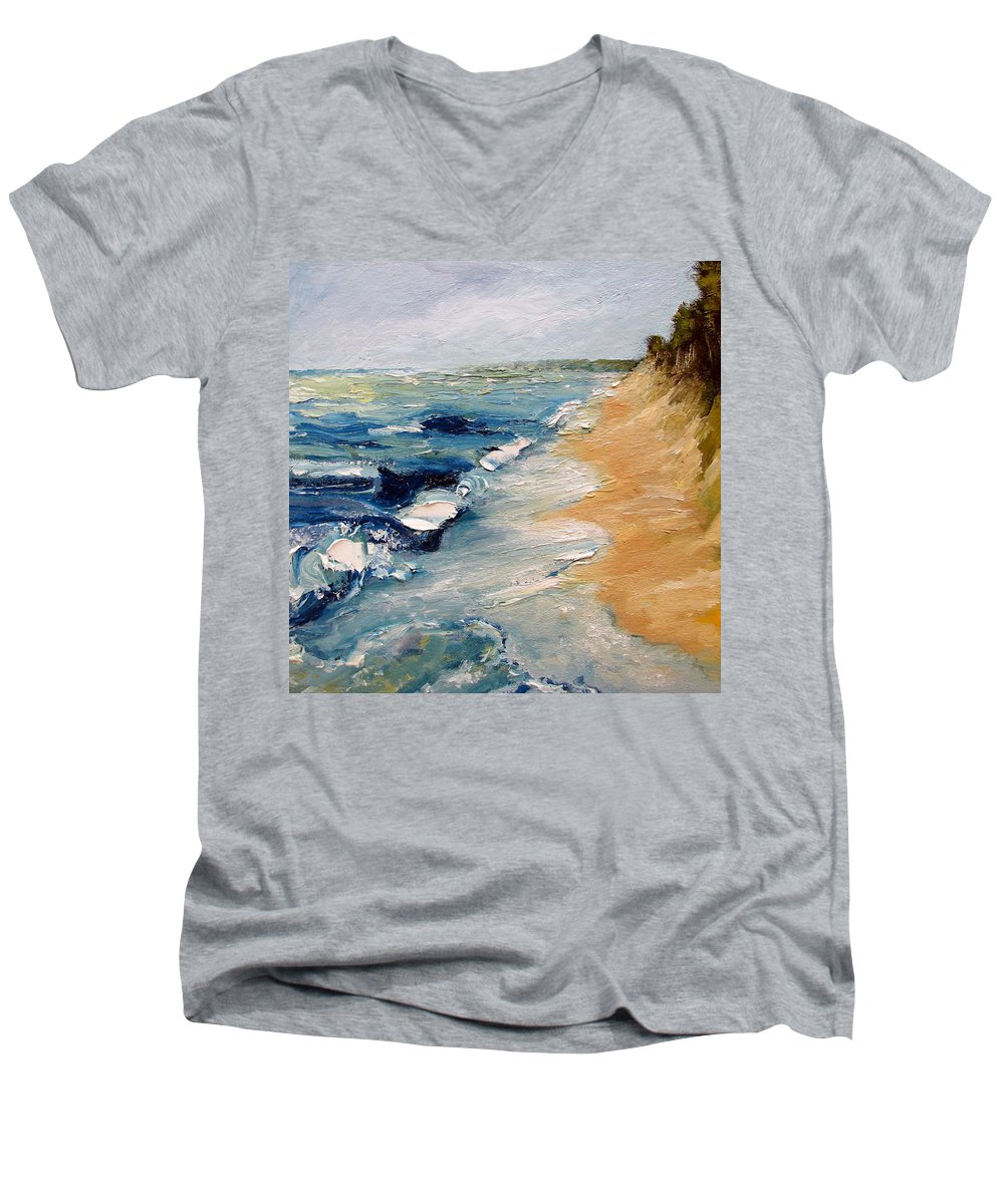 Whitecaps Men's V-Neck T-Shirt featuring the painting Whitecaps On Lake Michigan 3.0 by Michelle Calkins