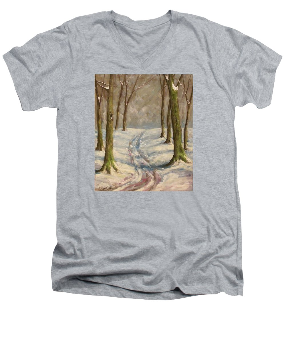 Winter Men's V-Neck T-Shirt featuring the painting Winter Day by Birgit Schnapp