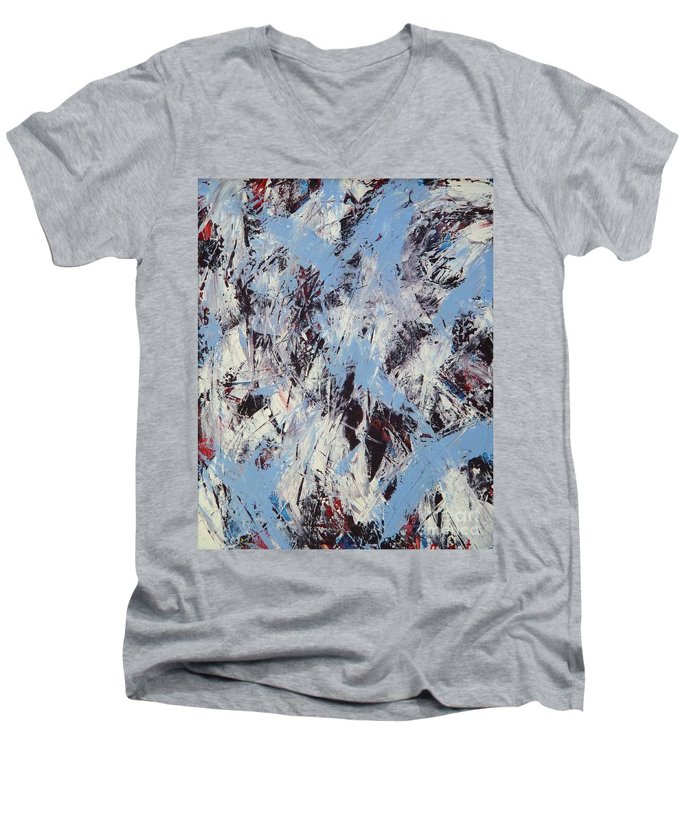 Abstract Men's V-Neck T-Shirt featuring the painting Winter by Dean Triolo
