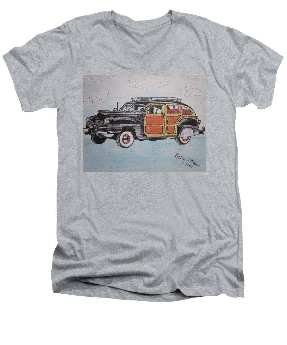 Woodie Men's V-Neck T-Shirt featuring the painting Woodie Station Wagon by Kathy Marrs Chandler