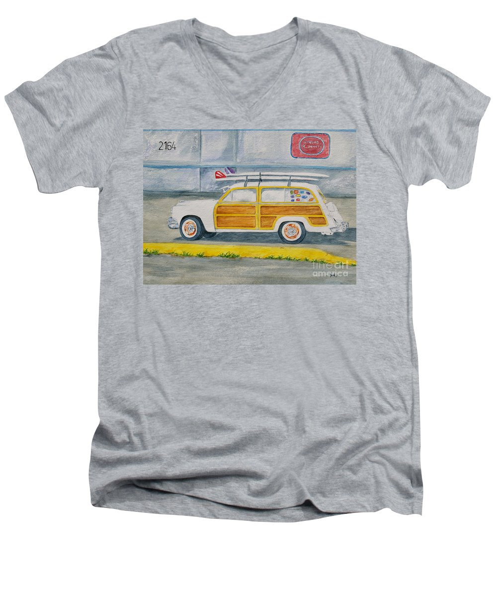 Woody Paintings Men's V-Neck T-Shirt featuring the painting Woody by Regan J Smith