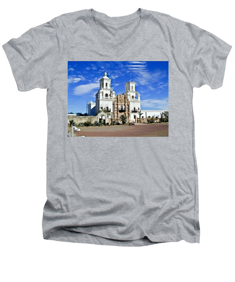 Mission San Xavier Del Bac Men's V-Neck T-Shirt featuring the photograph Xavier Tucson Arizona by Douglas Barnett