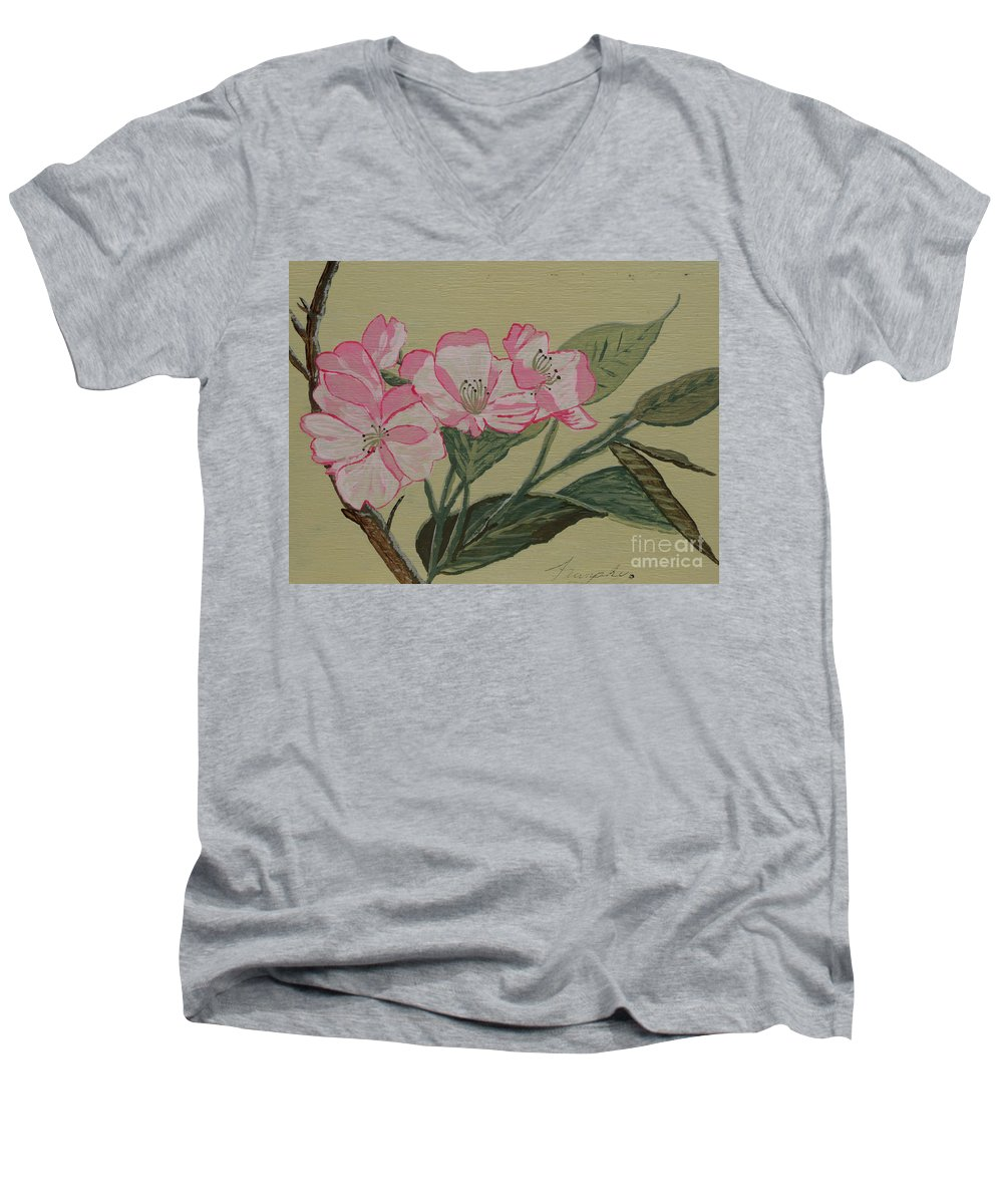 Yamazakura Men's V-Neck T-Shirt featuring the painting Yamazakura Or Cherry Blossom by Anthony Dunphy
