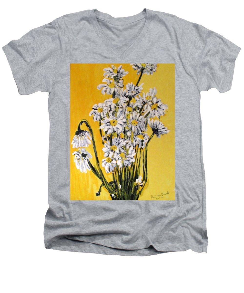 Daisy Men's V-Neck T-Shirt featuring the painting Yellow by Ian MacDonald