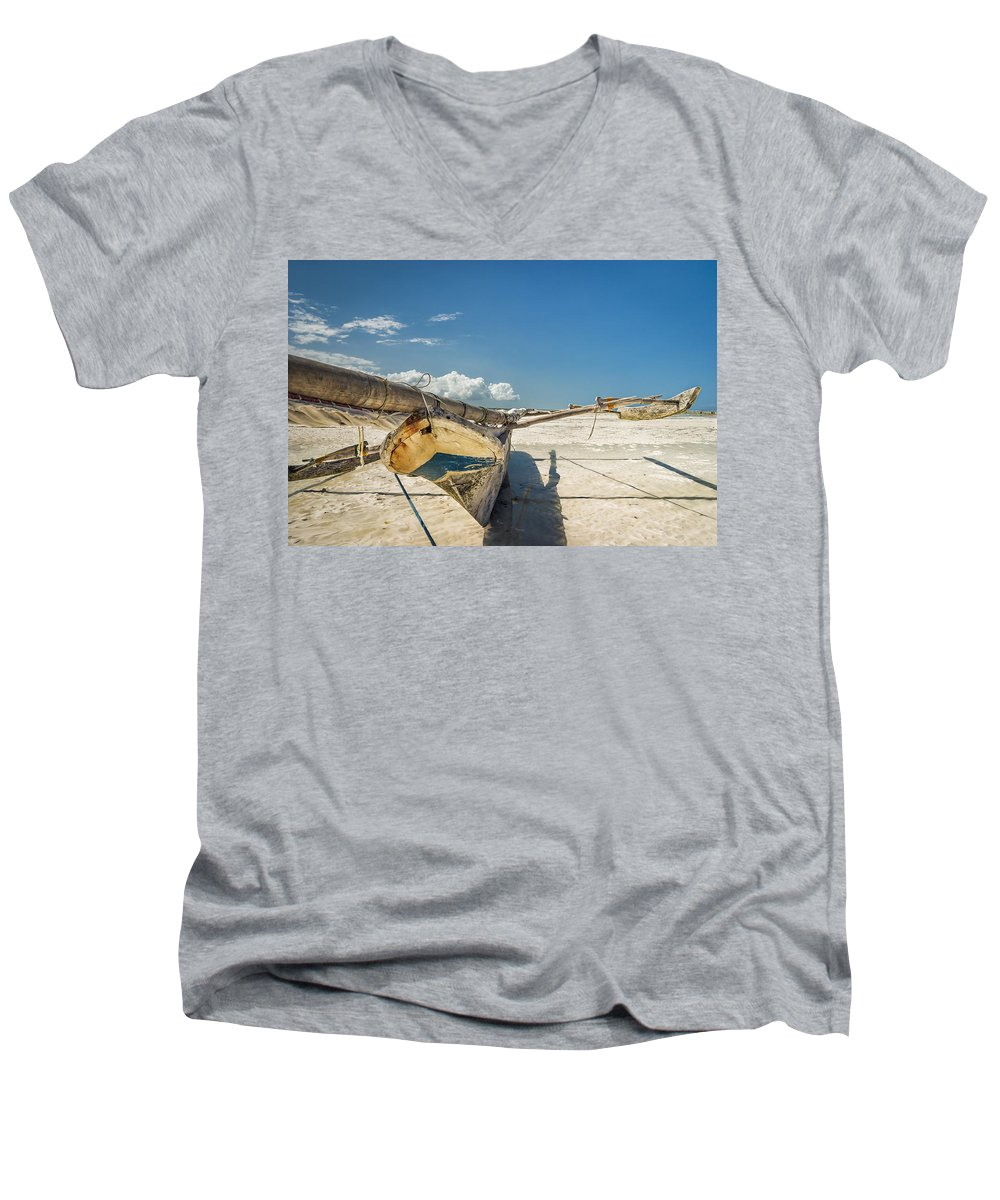 3scape Men's V-Neck T-Shirt featuring the photograph Zanzibar Outrigger by Adam Romanowicz