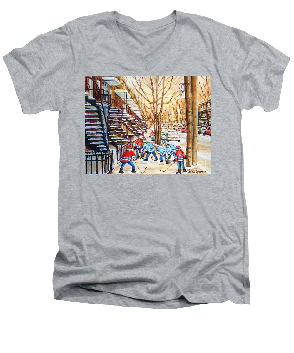 Montreal Men's V-Neck T-Shirt featuring the painting Hockey Game Near Winding Staircases by Carole Spandau