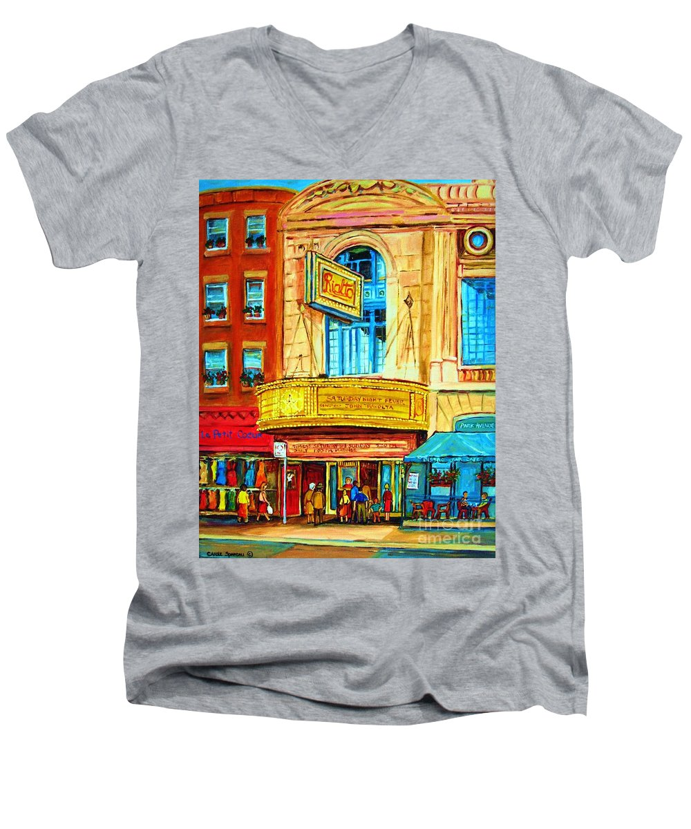 Street Scene Men's V-Neck T-Shirt featuring the painting The Rialto Theatre by Carole Spandau