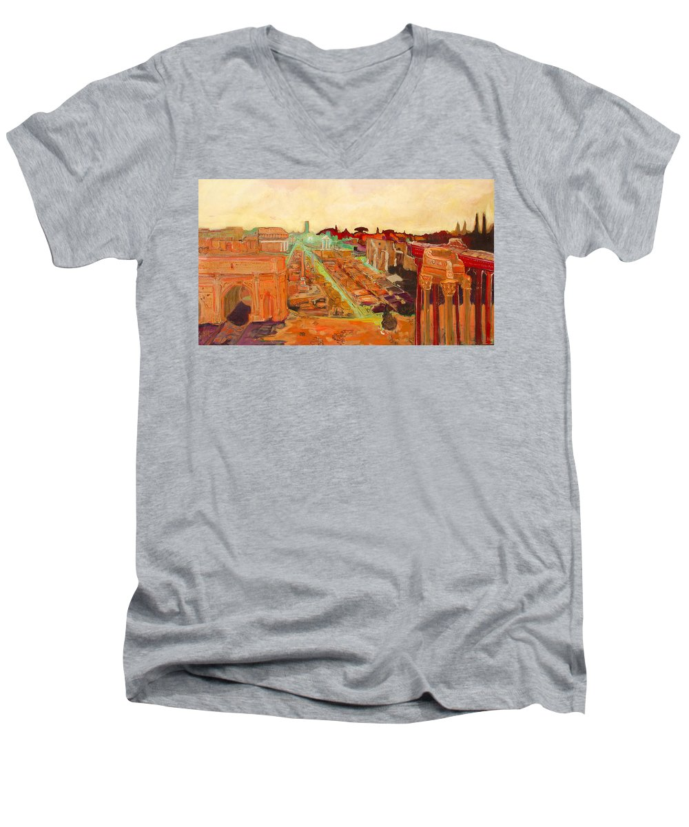 Rome Men's V-Neck T-Shirt featuring the painting Foro Romano by Kurt Hausmann