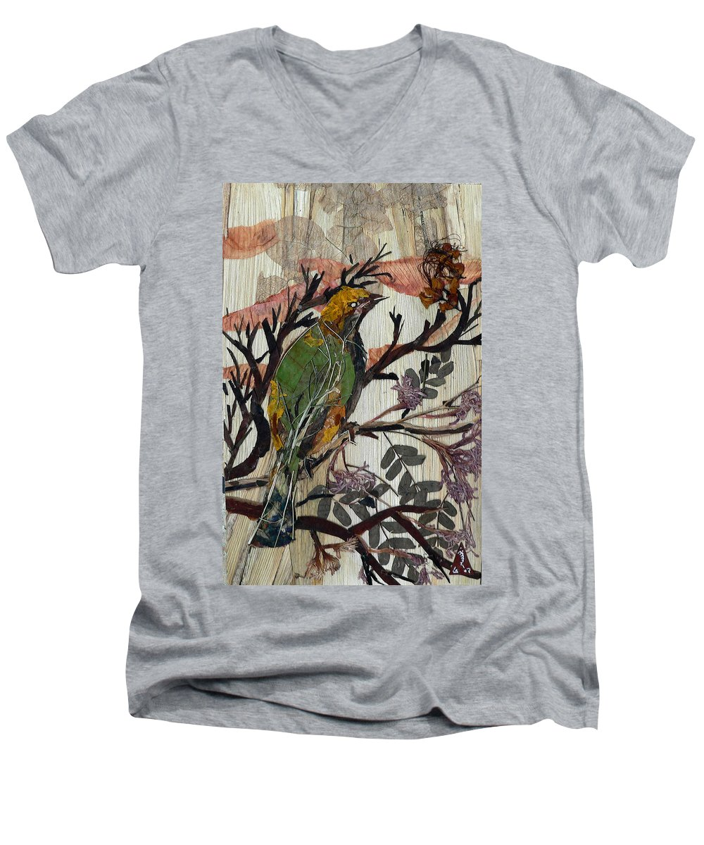 Green Bird Men's V-Neck T-Shirt featuring the mixed media Green-yellow Bird by Basant Soni