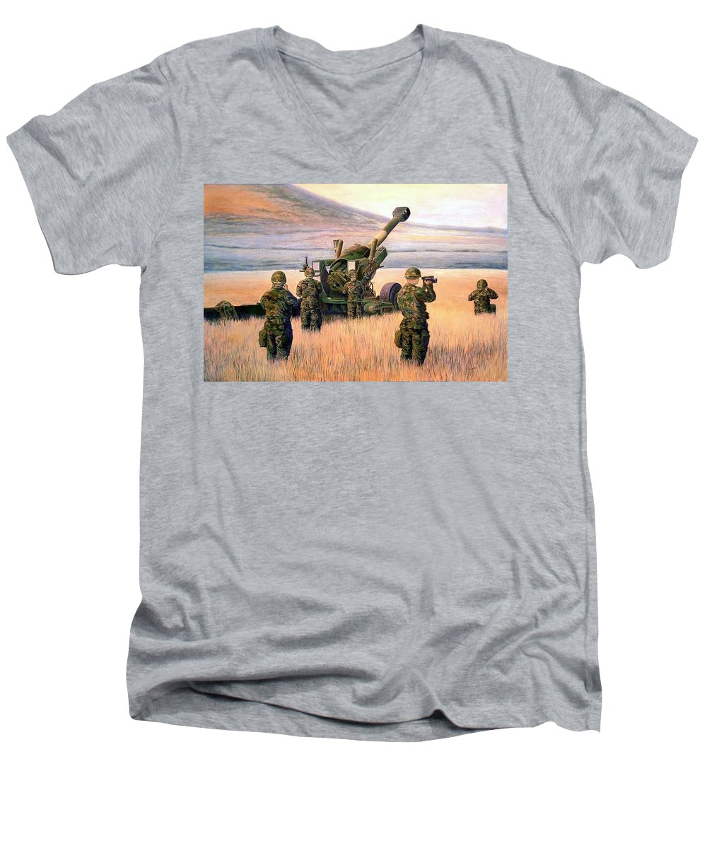 Signed And Numbered Prints Of The Montana National Guard Men's V-Neck T-Shirt featuring the print 1-190th Artillery by Scott Robertson