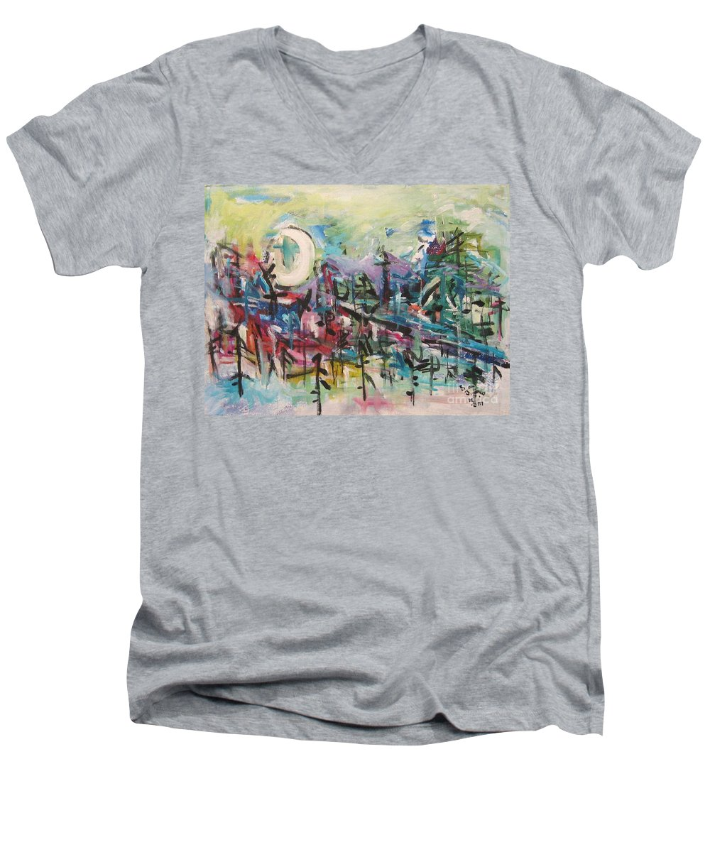 Abstract Paintings Men's V-Neck T-Shirt featuring the painting Bummer Flat2 by Seon-Jeong Kim