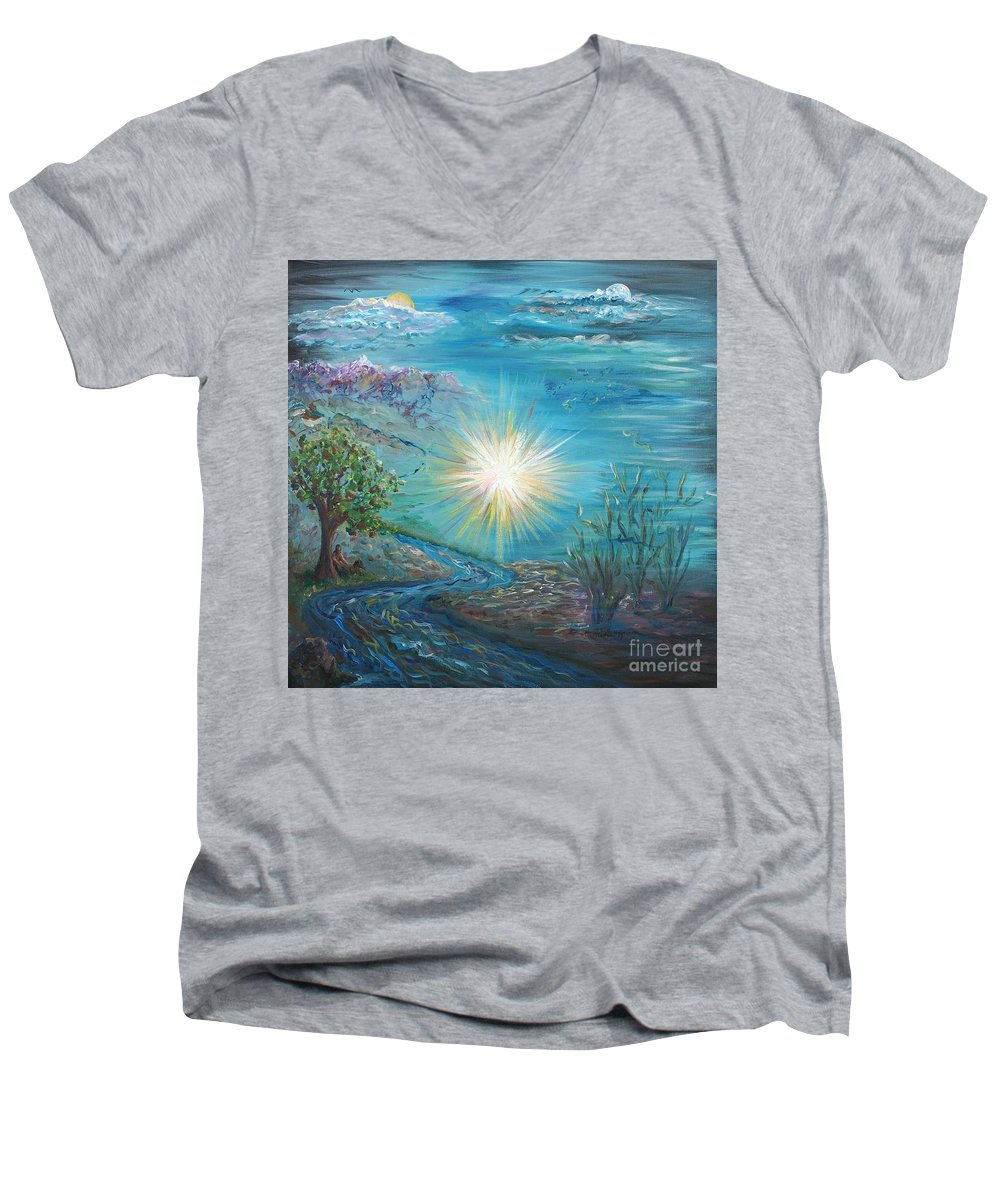 Creation Men's V-Neck T-Shirt featuring the painting Creation by Nadine Rippelmeyer