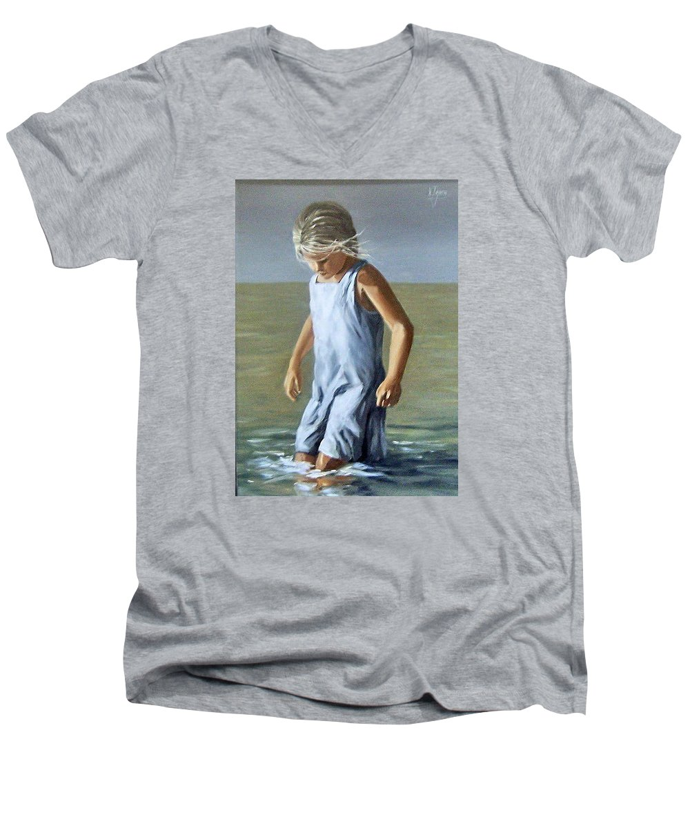 Girl Children Reflection Water Sea Figurative Portrait Men's V-Neck T-Shirt featuring the painting Girl by Natalia Tejera