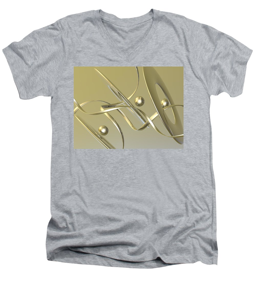 Scott Piers Men's V-Neck T-Shirt featuring the painting Gold by Scott Piers