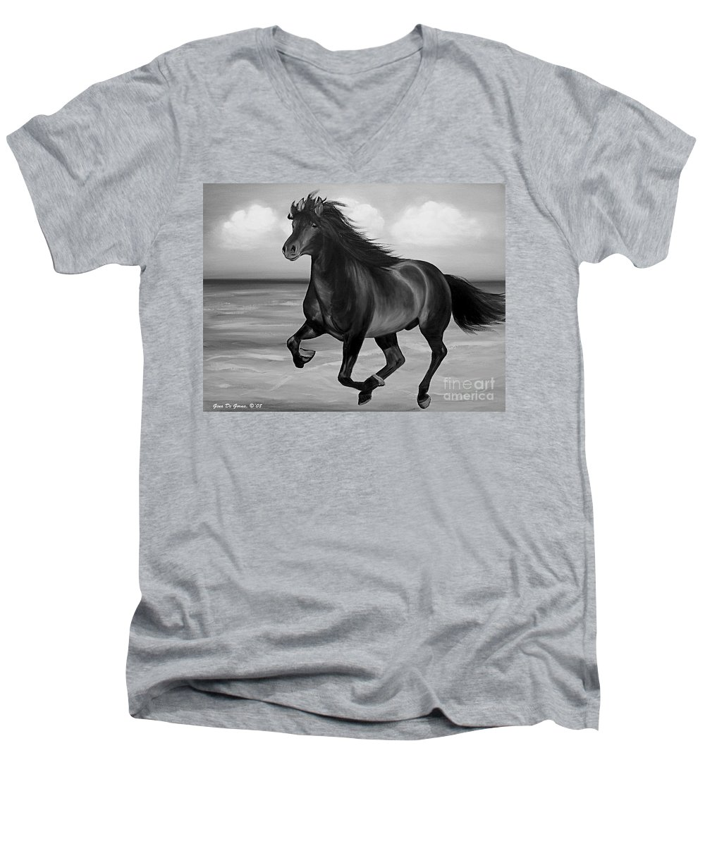 Horses Men's V-Neck T-Shirt featuring the painting Horses In Paradise Run by Gina De Gorna