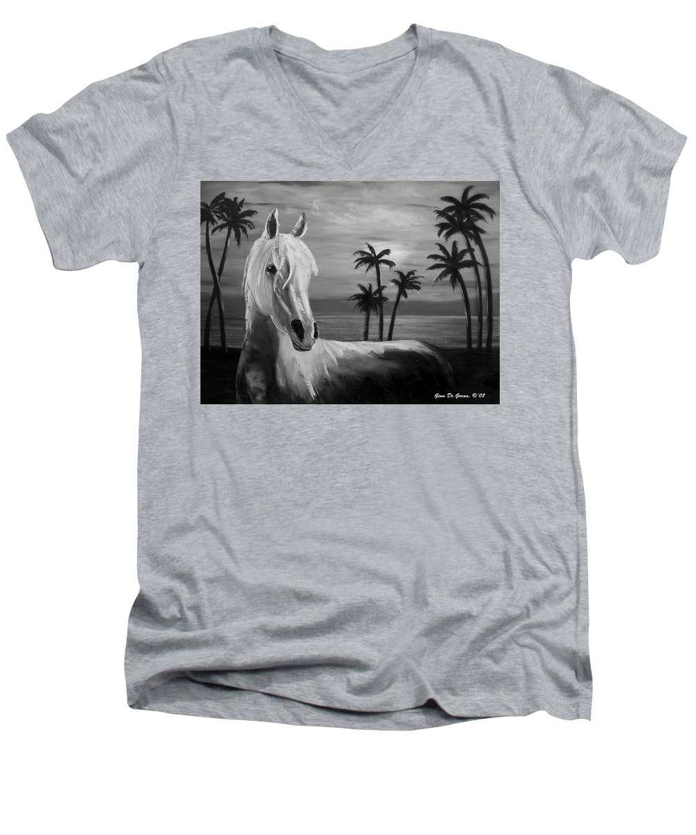 Horses Men's V-Neck T-Shirt featuring the painting Horses In Paradise Tell Me Your Dream by Gina De Gorna