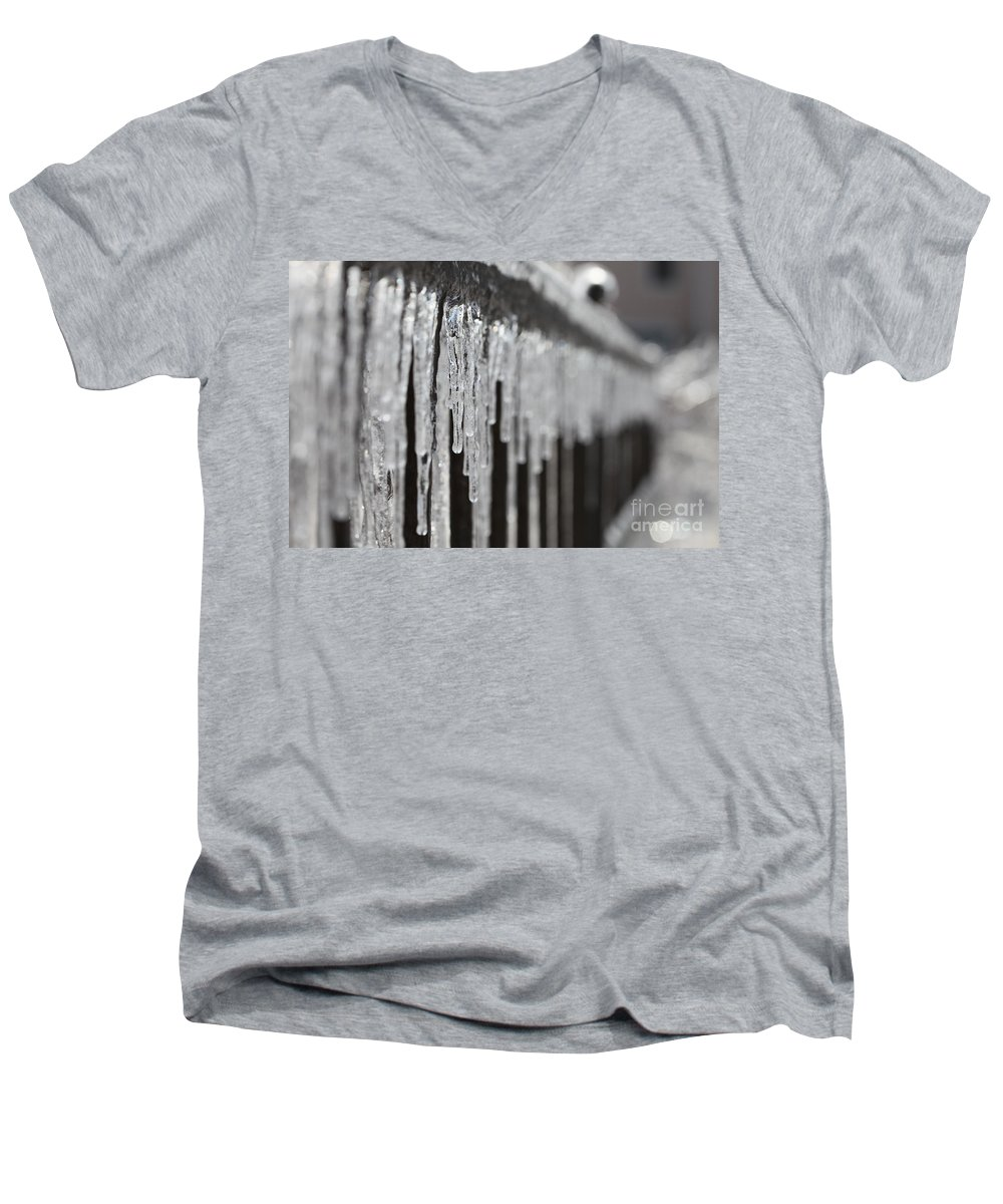 Icicles Men's V-Neck T-Shirt featuring the photograph Icicles At Attention by Nadine Rippelmeyer