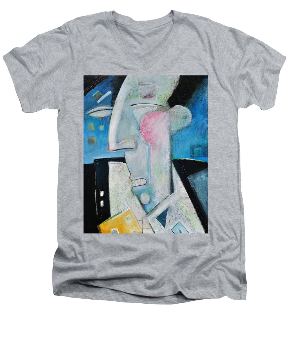 Jazz Men's V-Neck T-Shirt featuring the painting Jazz Face by Tim Nyberg