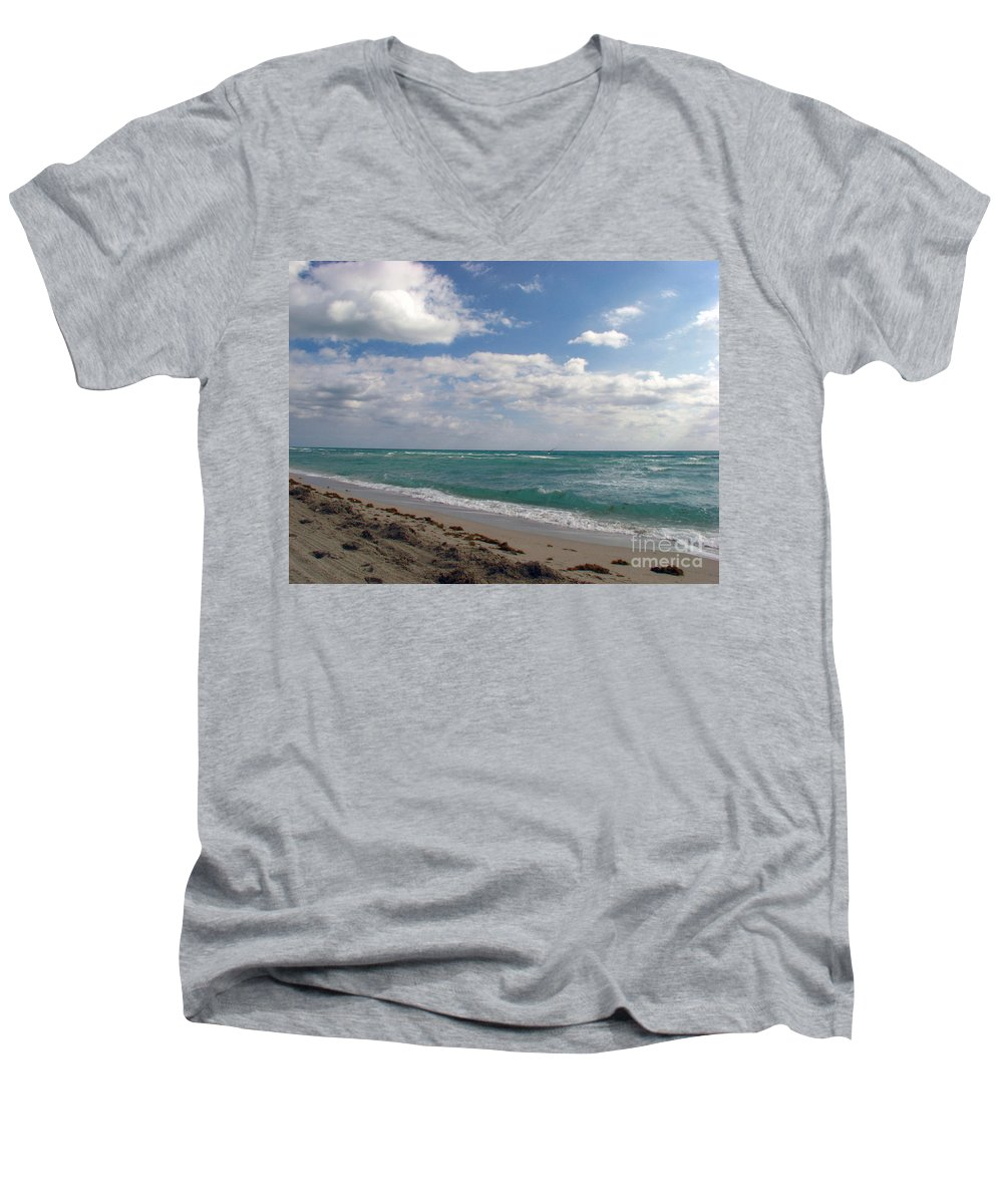 Miami Beach Men's V-Neck T-Shirt featuring the photograph Miami Beach by Amanda Barcon