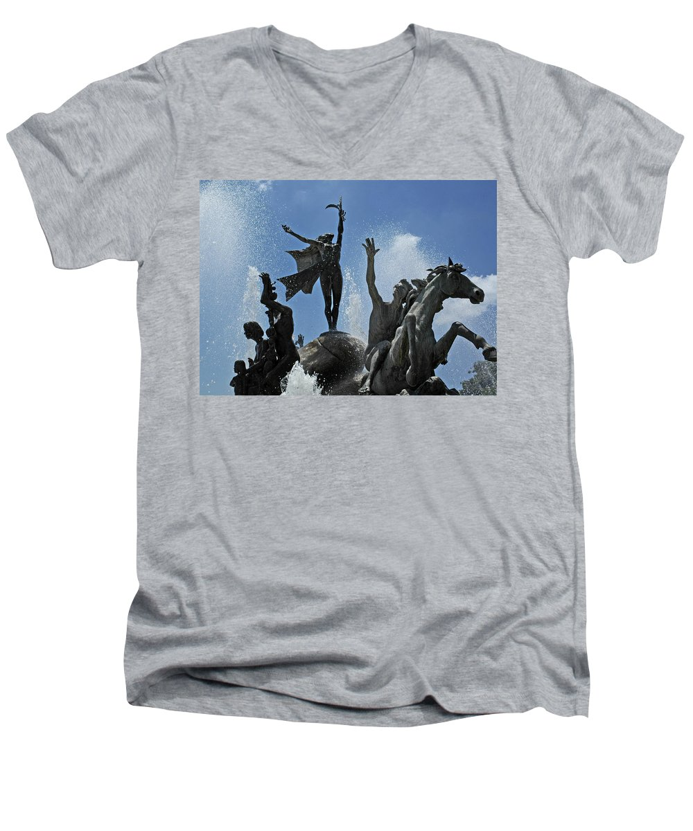 Statue Men's V-Neck T-Shirt featuring the photograph Old San Juan Puerto Rico by Tito Santiago