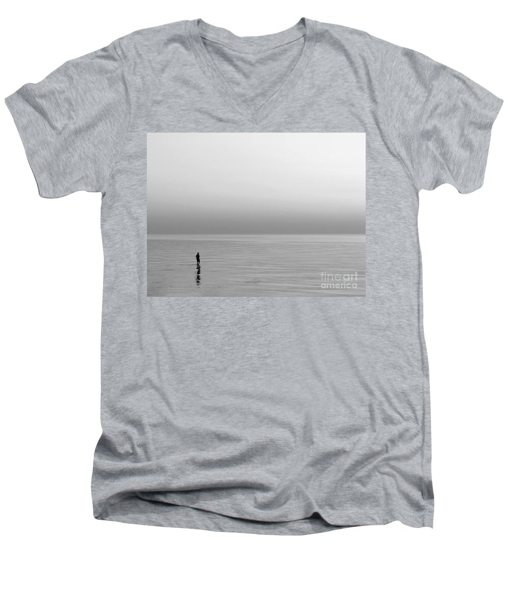 Lake Men's V-Neck T-Shirt featuring the photograph One Man by Dana DiPasquale