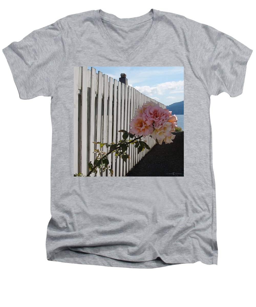 Rose Men's V-Neck T-Shirt featuring the photograph Orcas Island Rose by Tim Nyberg