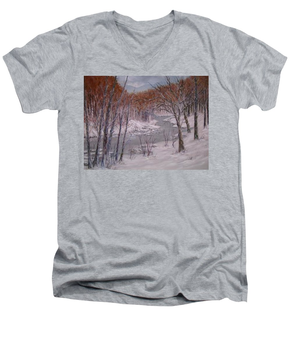 Snow; Landscape Men's V-Neck T-Shirt featuring the painting Peace And Quiet by Ben Kiger