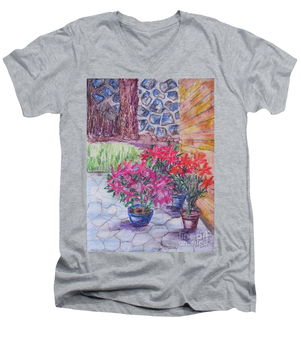 Poinsettias Men's V-Neck T-Shirt featuring the painting Poinsettias - Gifted by Judith Espinoza