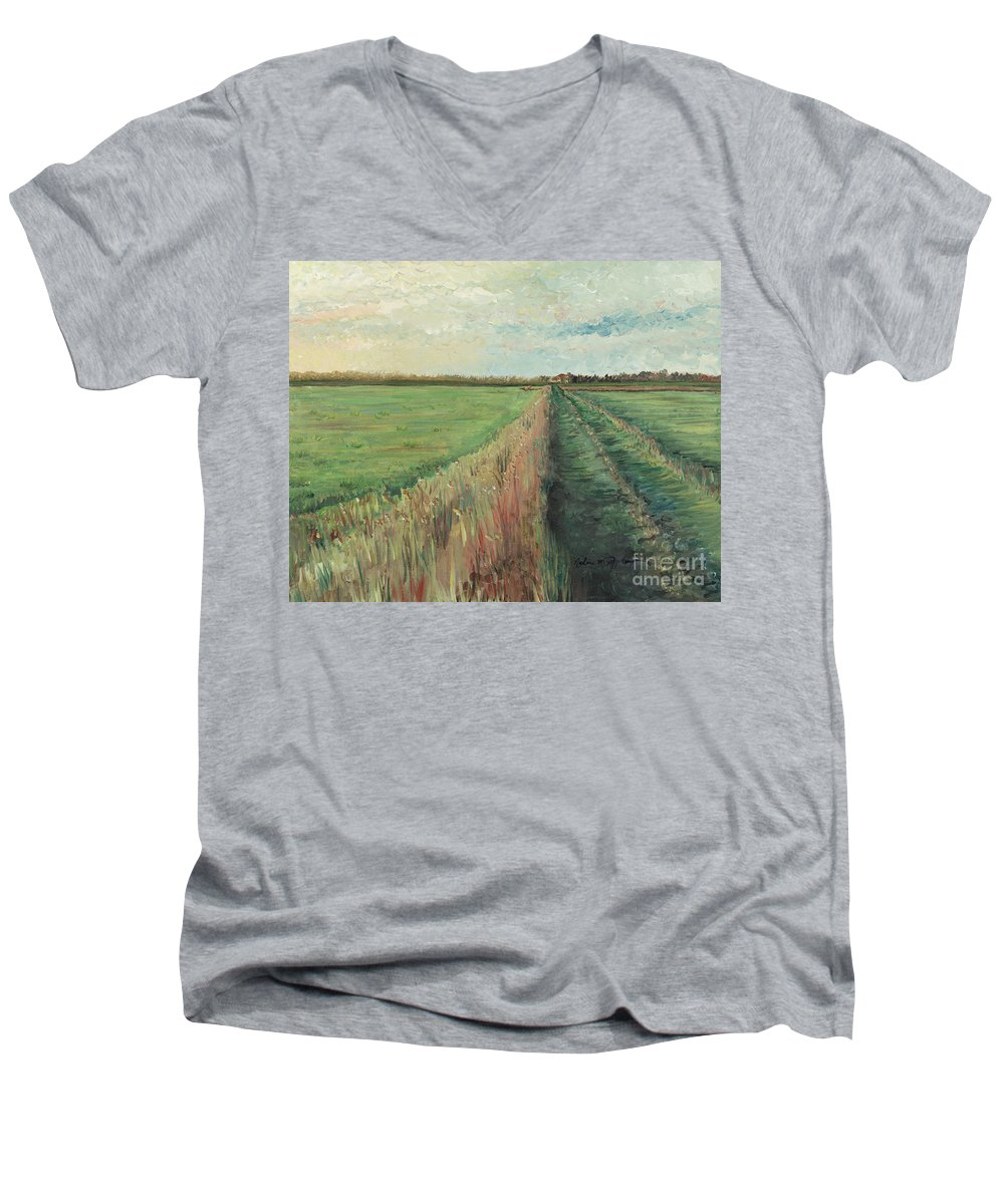 Provence Men's V-Neck T-Shirt featuring the painting Provence Villa by Nadine Rippelmeyer