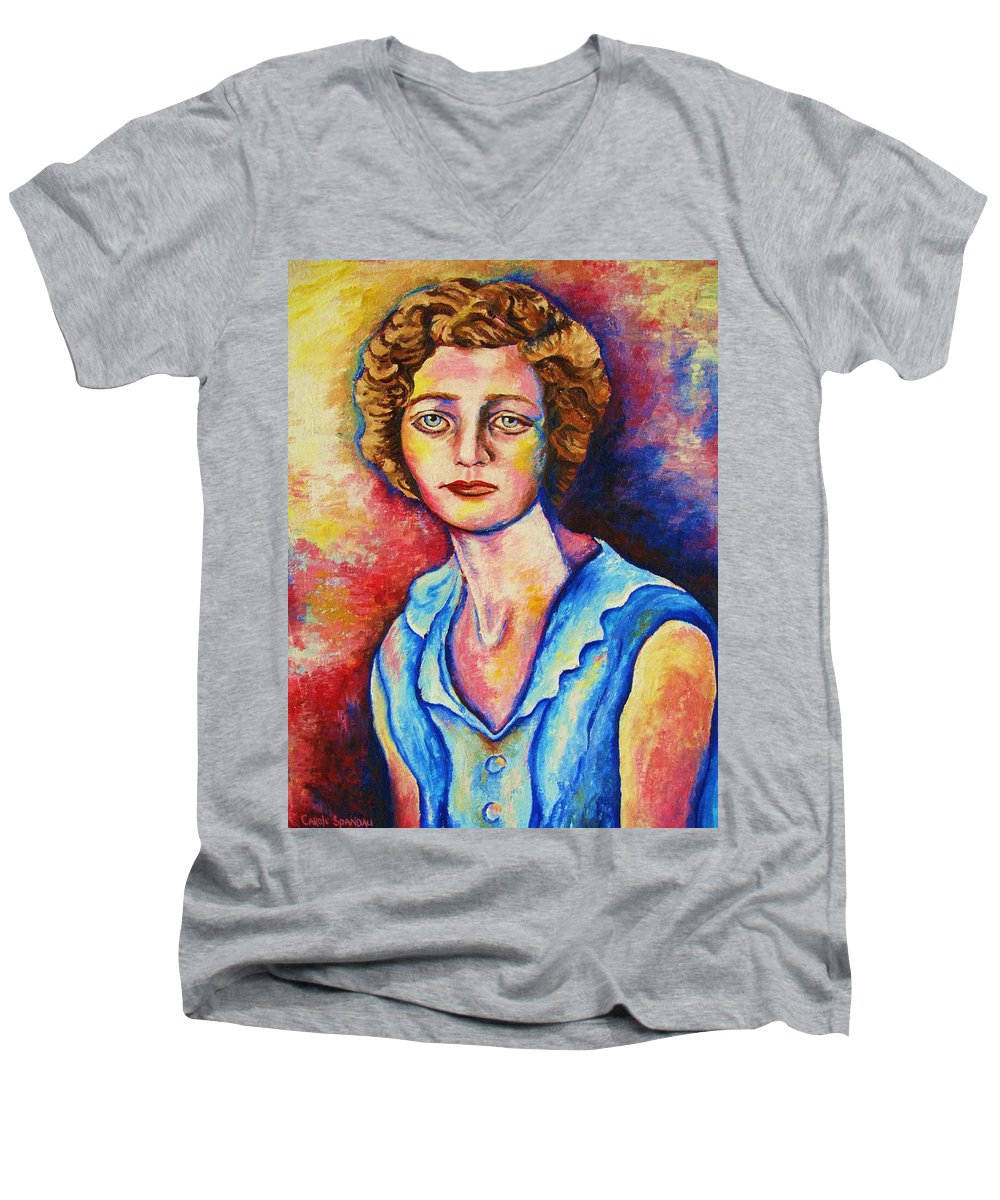 Portraits Men's V-Neck T-Shirt featuring the painting Sad Eyes by Carole Spandau