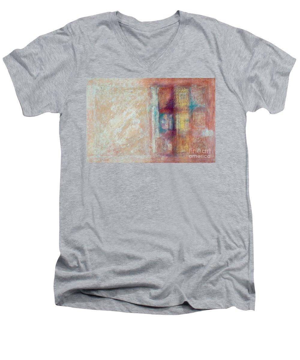 Mixed-media Men's V-Neck T-Shirt featuring the painting Spirit Matter Cosmos by Kerryn Madsen-Pietsch