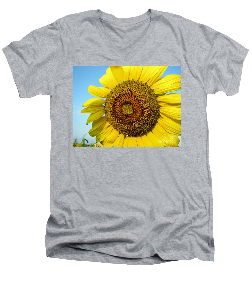 Sunflower Men's V-Neck T-Shirt featuring the photograph Sunflower Series by Amanda Barcon
