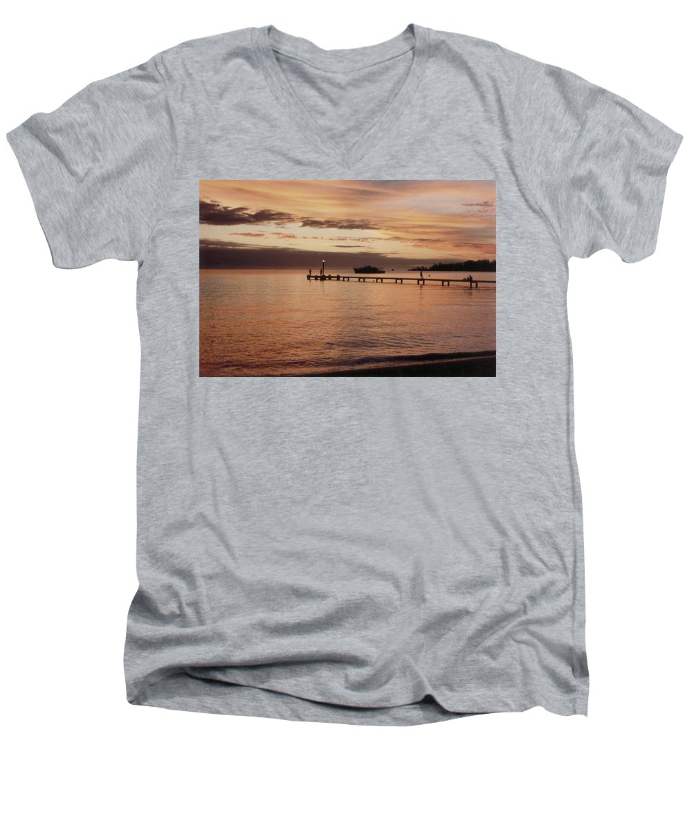 Sunset Men's V-Neck T-Shirt featuring the photograph Sunset In Paradise by Mary-Lee Sanders