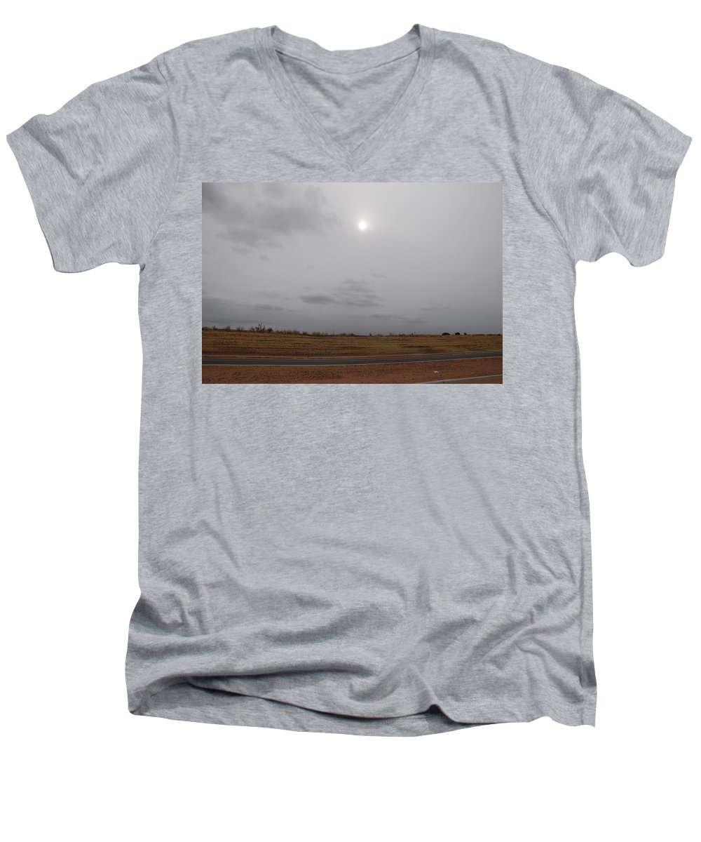 Desert Men's V-Neck T-Shirt featuring the photograph Sunset In The Desert by Rob Hans