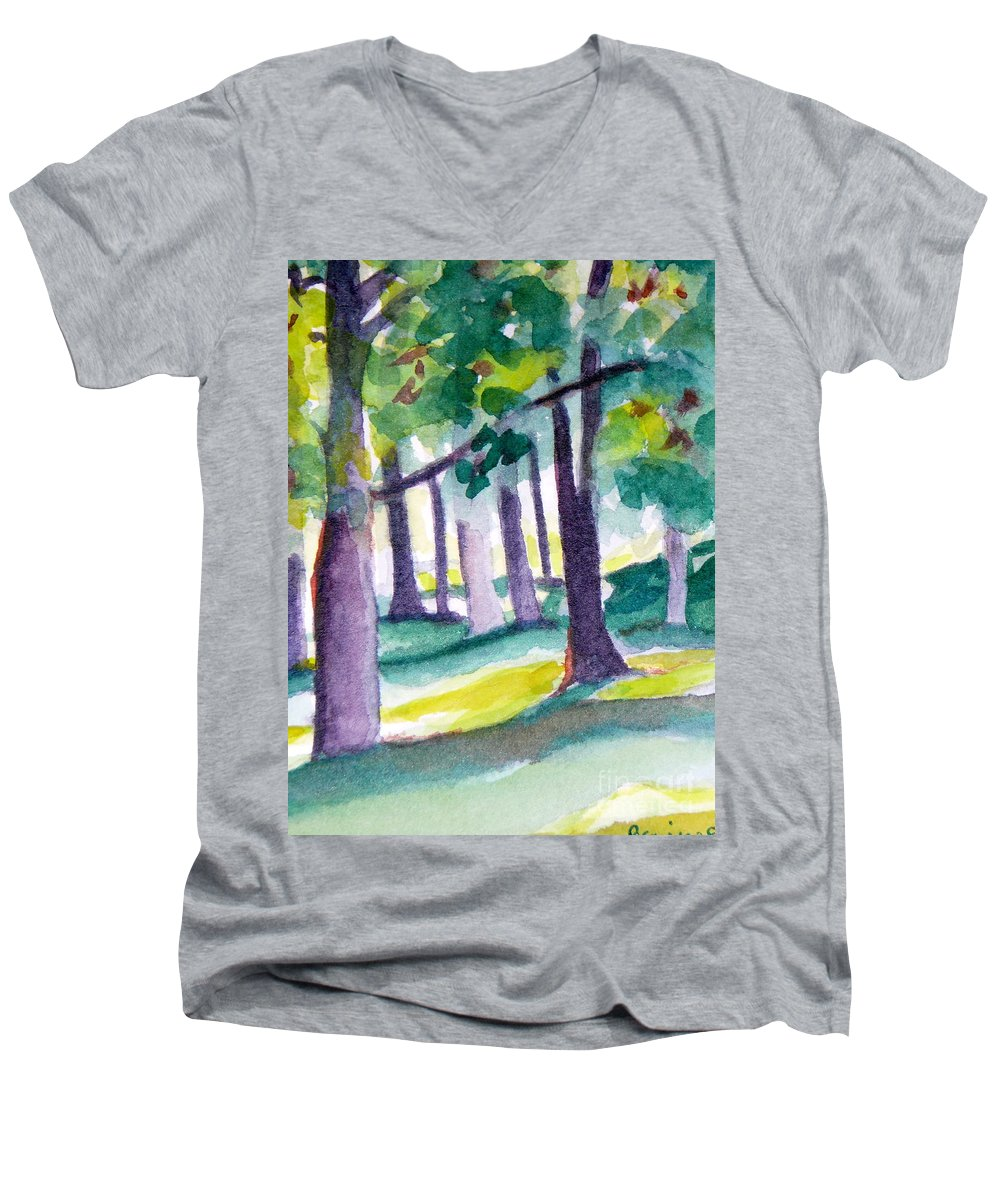 Nature Men's V-Neck T-Shirt featuring the painting The Perfect Day by Jan Bennicoff