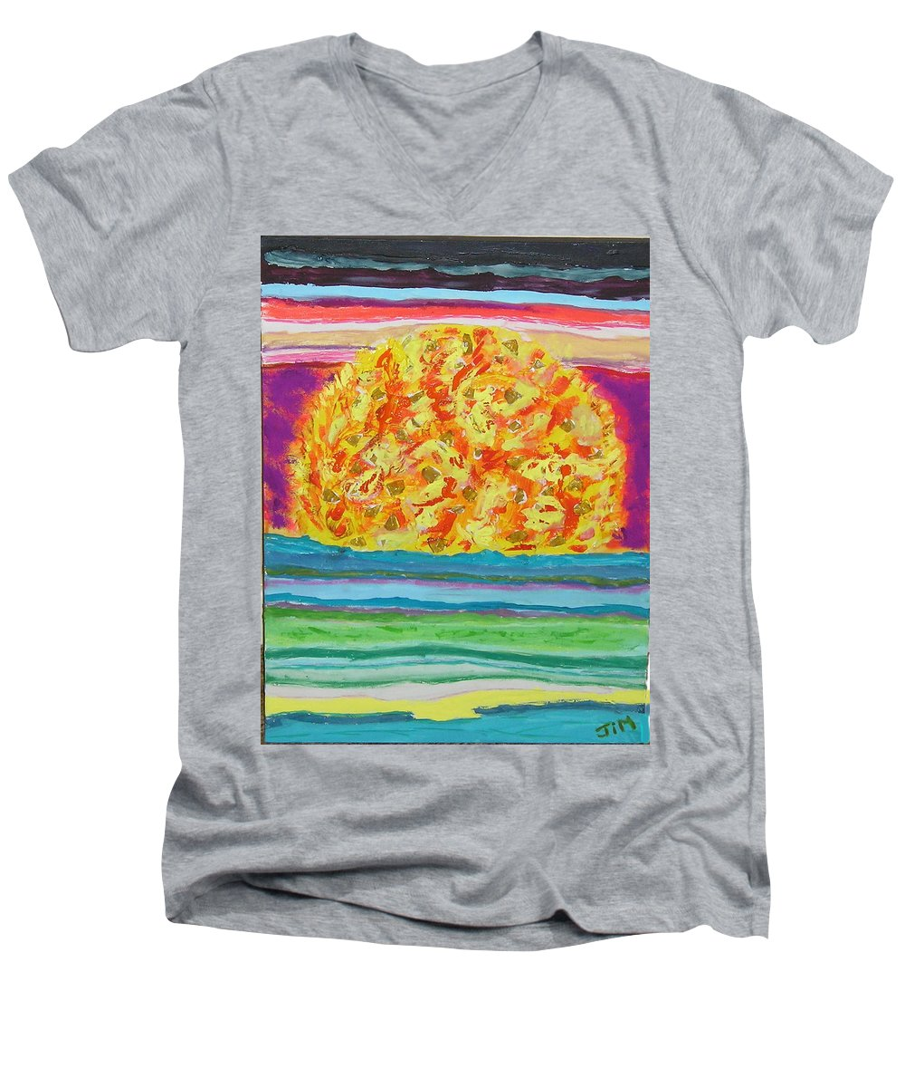 Hot Men's V-Neck T-Shirt featuring the painting The Sun Drinks The Ocean And Eats The Sky by James Campbell