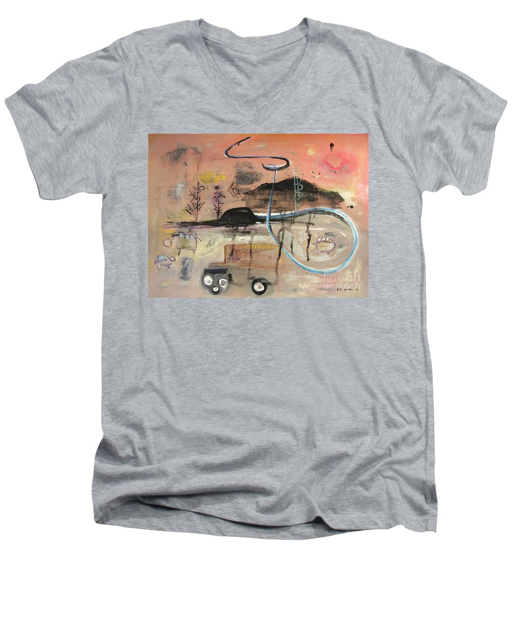 Acrylic Paper Canvas Abstract Contemporary Landscape Dusk Twilight Countryside Men's V-Neck T-Shirt featuring the painting The Tempo Of A Day by Seon-Jeong Kim