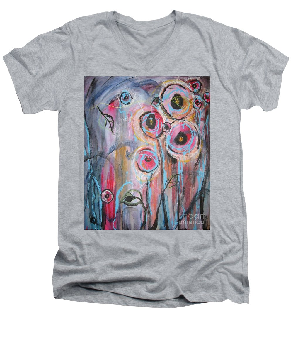Aabstract Paintings Men's V-Neck T-Shirt featuring the painting Too Many Temptations by Seon-Jeong Kim