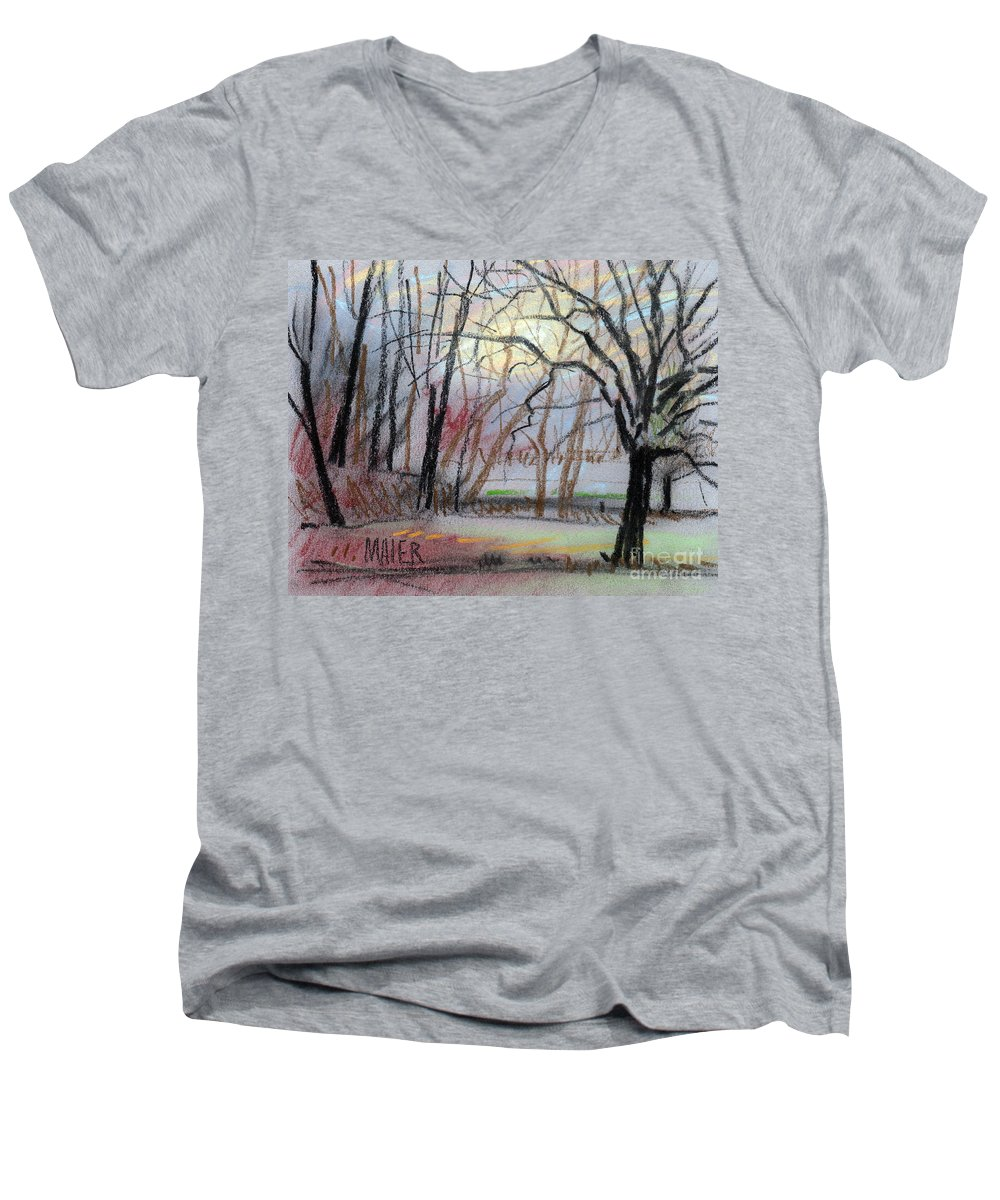 Landscape Men's V-Neck T-Shirt featuring the drawing Turner South by Donald Maier