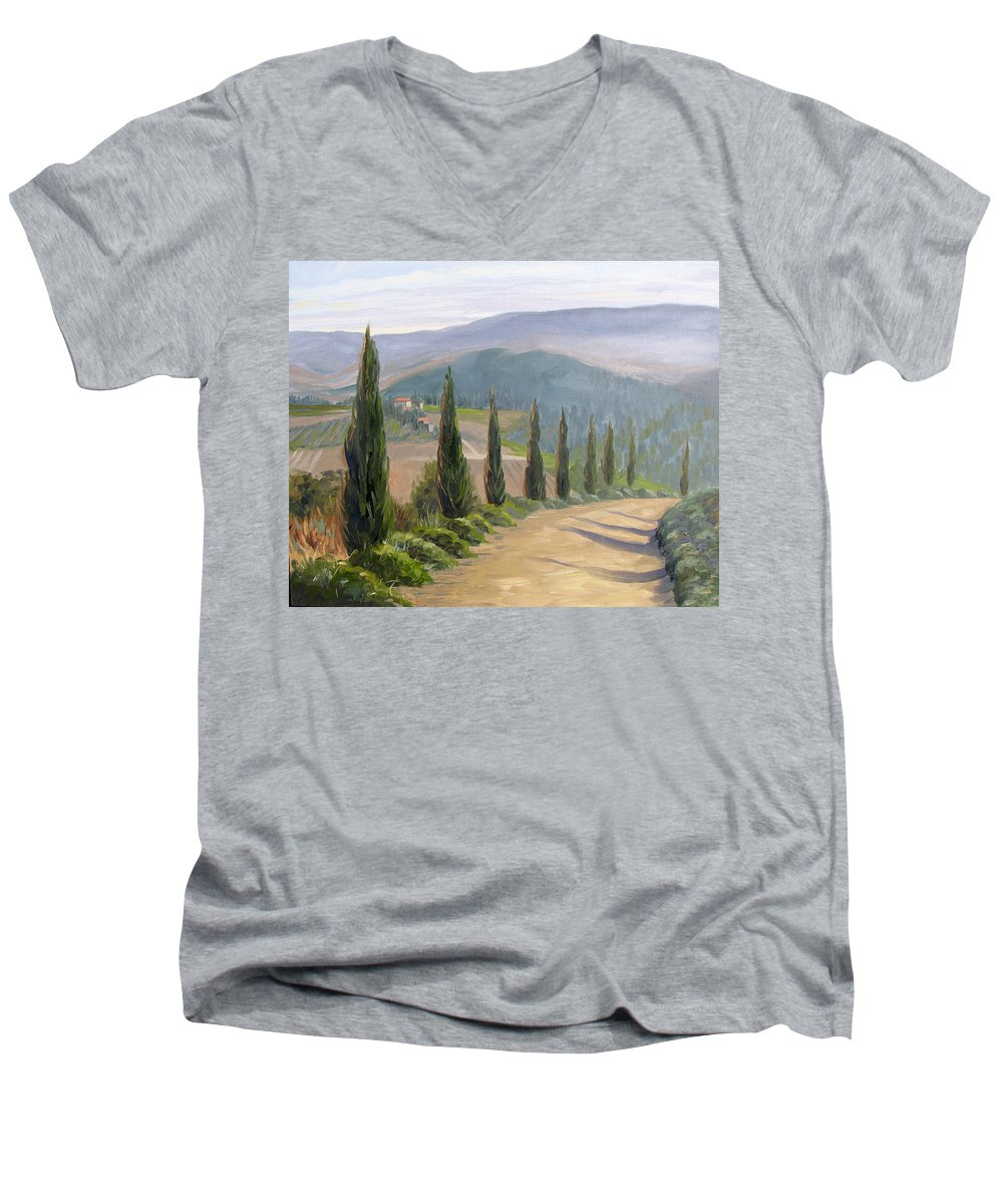 Landscape Men's V-Neck T-Shirt featuring the painting Tuscany Road by Jay Johnson
