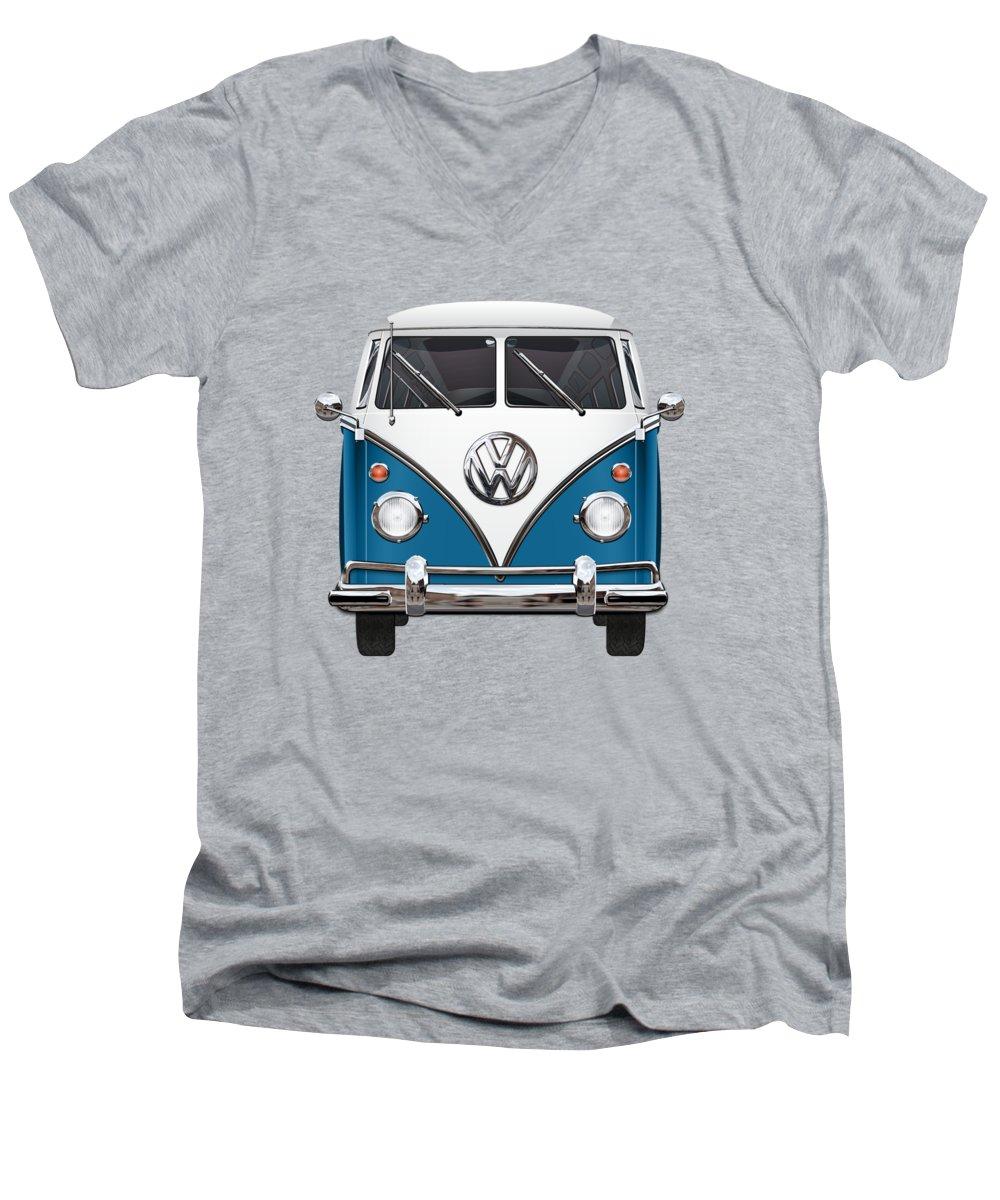 'volkswagen Type 2' Collection By Serge Averbukh Men's V-Neck T-Shirt featuring the photograph Volkswagen Type 2 - Blue And White Volkswagen T 1 Samba Bus Over Orange Canvas by Serge Averbukh