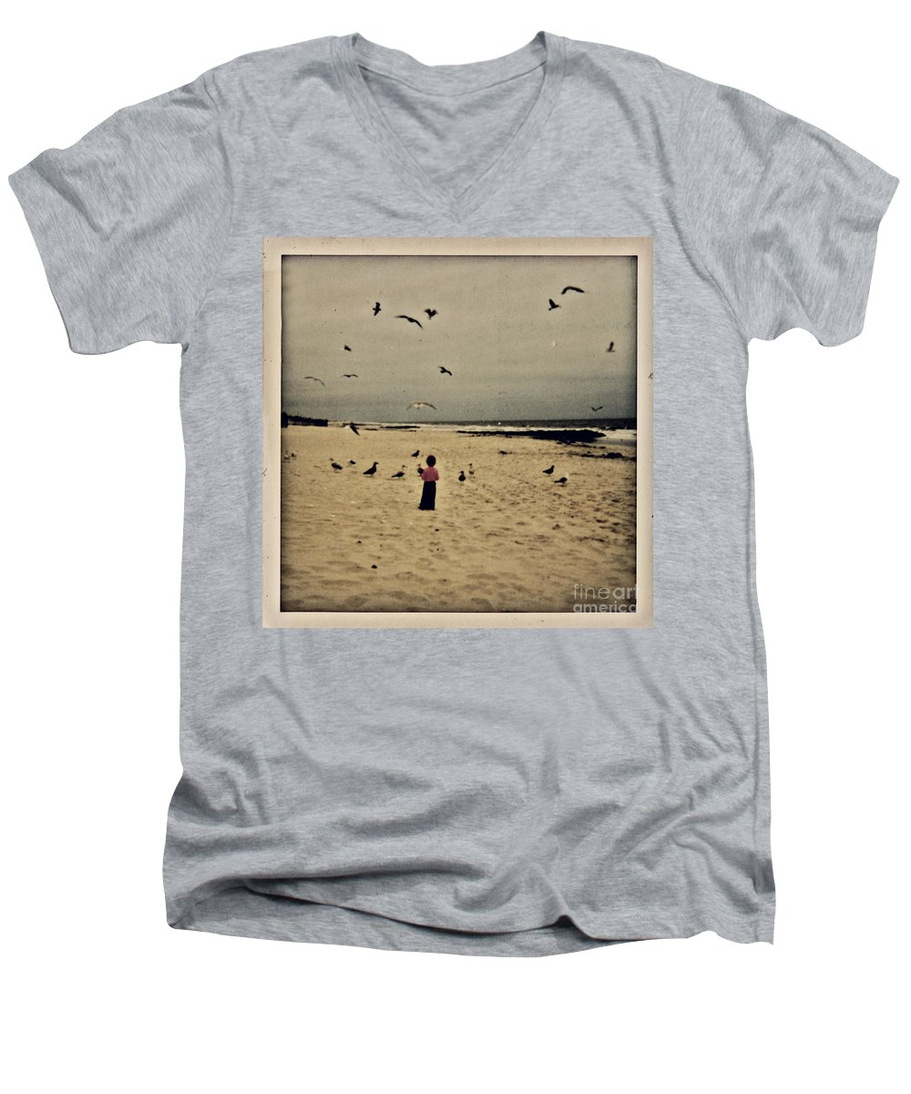 Ocean Men's V-Neck T-Shirt featuring the photograph When Promises Were For Keeps by Dana DiPasquale