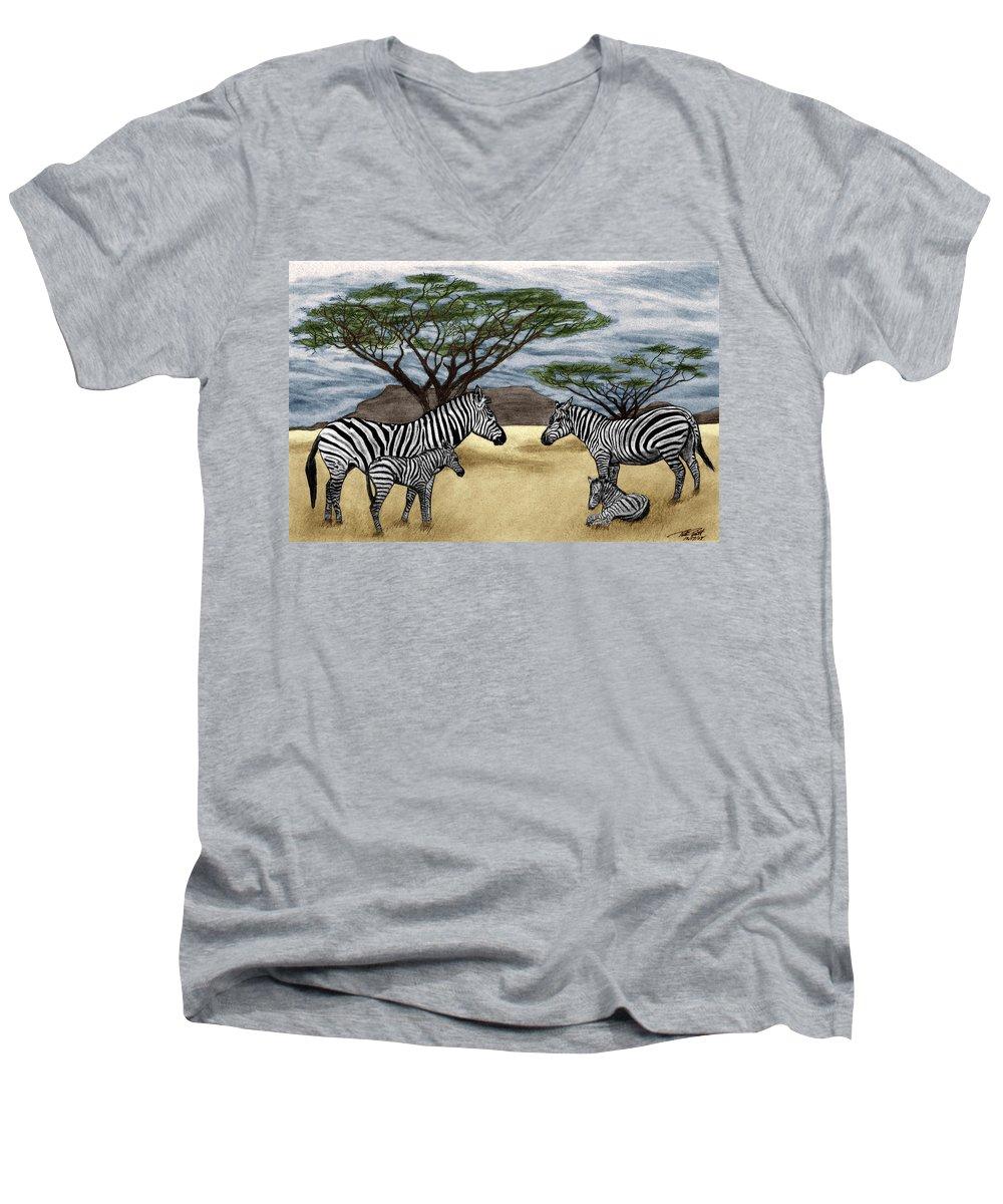 Zebra African Outback Men's V-Neck T-Shirt featuring the drawing Zebra African Outback by Peter Piatt