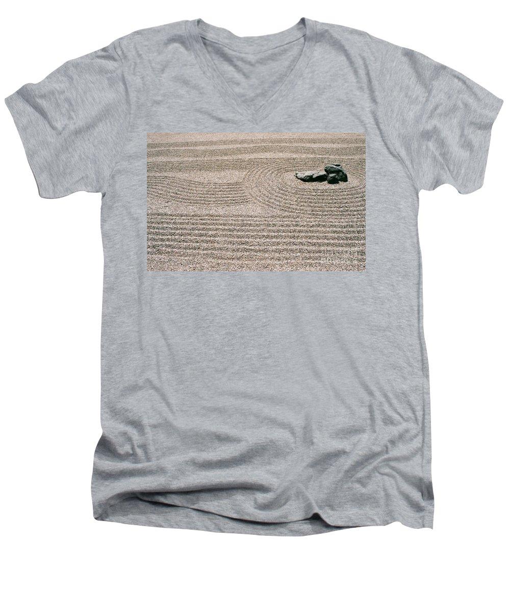 Zen Men's V-Neck T-Shirt featuring the photograph Zen Garden by Dean Triolo