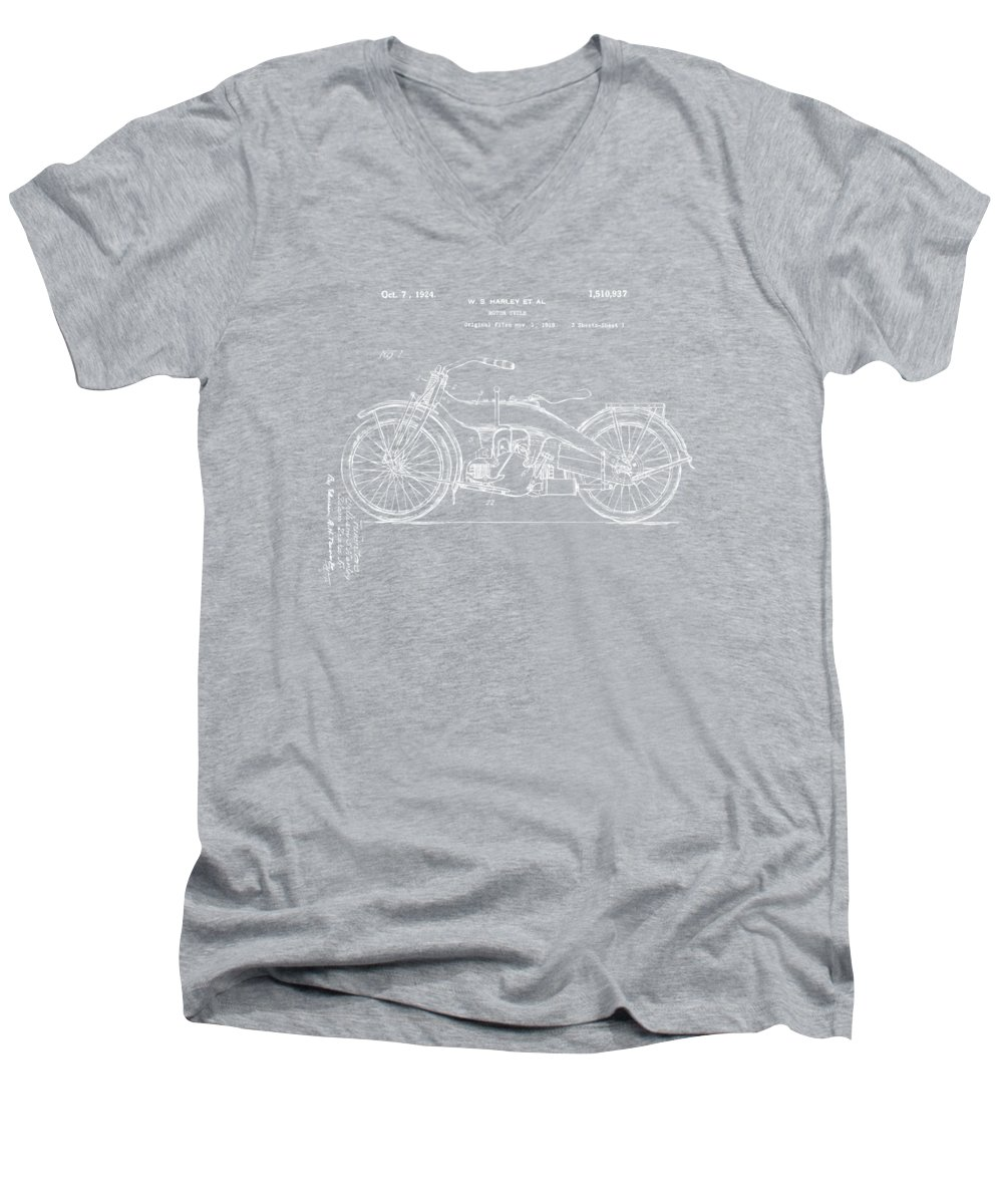 Harley-davidson Men's V-Neck T-Shirt featuring the digital art 1924 Harley Motorcycle Patent Artwork Blueprint by Nikki Marie Smith